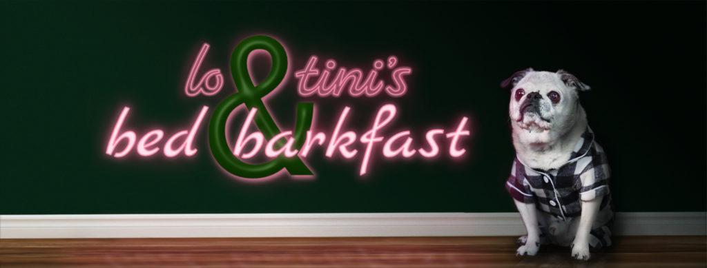 Lo & Tini's Bed & Barkfast Logo with dog